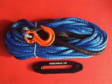 30 M (100FT) X 13MM SYNTHETIC WINCH ROPE HOOK AND HAWSE.