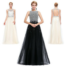 Beadings Long Wedding Evening Formal Party Gown Prom Cocktail Bridesmaid Dresses