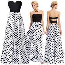 Long Formal  Strapless Polka Dots Ball Gown Evening Prom Party Dress Bridesmaids