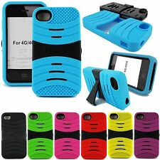 EXO STRETCH RUGGED HARD SKIN CASE STAND COVER FOR APPLE IPHONE 4 4S + SCREEN