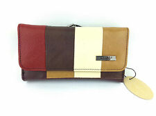 QUALITY COWHIDE LEATHER LORENZ LADIES MULTI COLOURED LARGE  CLIP TOP PURSE NEW