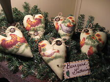 COUNTRY CHICKEN SUNFLOWER  FABRIC HEART ORNIES BOWL FILLERS WREATH-MAKING DECOR