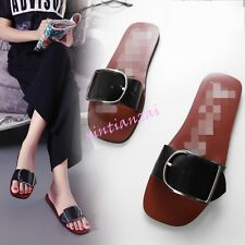Womens Buckle OpenToe Flats Slip On Sandals Boho Mules Slippers Chic Hot Shoes