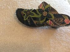 NEW..CorkyS ELITE..POPPY..BLACK..10..LEATHER SANDAL..MULTI COLOR..HAND PAINTED..