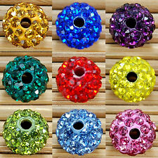 100pcs 8/10mm Crystal Rhinestones Round Ball Spacer Bead