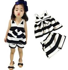 Black and White Stripes Sleeveless Cute Baby Girls Bowknot T-shirt and Pant Sets