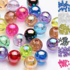Lots 50/100Pc Acrylic Plated AB Round Loose Spacer Beads Jewelry Finding DIY 8mm