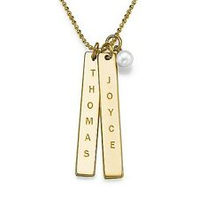 Engraved Name Tag Necklace with Pearl Charm - 18k Yellow Gold Plated