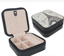Travel Portable Zip Jewelry Box Ring Necklace Display Leather Case Organizer Box