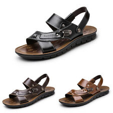 Men's sandals beach Shoes casual Genuine Leather Shoes Fish mouth black slippers