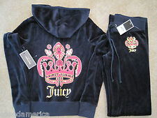 NWT Juicy Couture Blue Royal Seal Velour Hoodie Pant Tracksuit Set XS $256