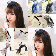 Fashion Women's Lady Hairband Hairpin Bow Hair Headband Lace Net Bowknot Bow Tie