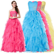 Princess Long Evening Prom Party Quinceanera Wedding Bride Dress Ball Gown 2-16