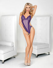 Sexy Midnight Purple Lace Halter Teddy with Tie Neck Front Panel with g-back!