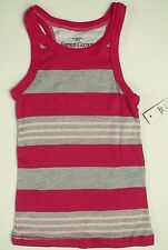 New Girls Faded Glory Tank Top Button Rib Knit Dark Pink Light Striped Size XS-L