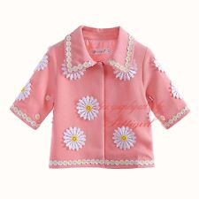 Girl Pink Embroidery Daisy Coat Toddler Kids Lovely Princess Autumn Jacket 3-12Y