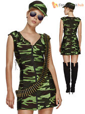 Ladies Fever Combat Girl Costume Adults Army Fancy Dress Sexy Military Outfit