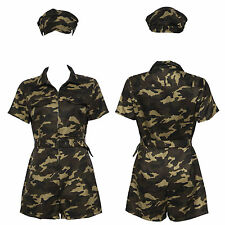 Sexy Army Defence Force Military Camouflage Uniforme Jumpsuit Halloween Costume