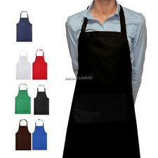 Plain Apron With Front Pocket Cooking Bib Craft Chefs Kitchen Baking Butchers NC