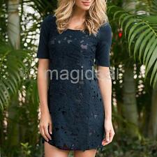 Sexy Women Summer Casual Lace Short Sleeve Party Evening Cocktail Mini Dress