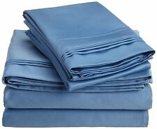 Comfort bedding 1000 TC 100% Egyptian Cotton Bed Sheet Set Medium Blue Solid