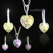 Sterling Silver 925 Set Heart with Swarovski Elements Pendant & Earrings Gift