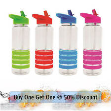 700ml Sports Water Bottle with Folding Straw Non Slip Rubber Grip Heath Safe