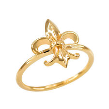 Fine Women's 14k Dainty Yellow Gold Fleur-de-Lis Ring Lily of France