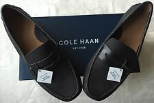 New Cole Haan Grant Canoe Penny Loafers Black Leather