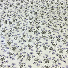 100% Cotton Poplin Sateen Lilac Poppy on Cream Fat 1/4 50x56cm Metre 100x112cm