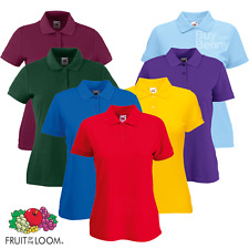 Fruit Of The Loom LADIES POLO SHIRT LADY FIT EASY CARE SMART TOP WORKWEAR XS-2XL