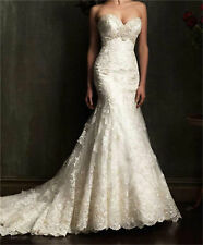 Lace Strapless Mermaid Slim Backless Bride Wedding Dress Bridal Gown Long Train