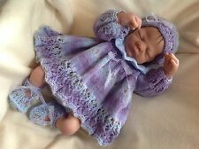 NEW KNITTED 4 PIECE  BABY OUTFIT SET NEWBORN REBORN DOLL Clothes 19