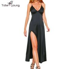 Sexy Plunge VNeck Straps High Slit Faux Silk Maxi Long Gown Cocktail Party Dress