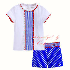 Infant Boy Baby Girls Clothes Set White T-shirt + Polka Dot Shorts Summer Outfit
