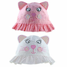 Baby Sun Hat Girls Toddler Summer 100% Cotton Bucket Cat With Ears 9 Mths-4 Yrs