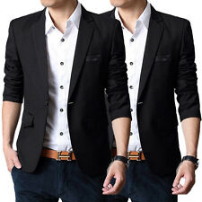 New Stylish Men Formal Fit Suit One Button Blazer Casual Slim Coat Jacket Tops