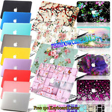 Blossom Floral Painted Logo Cut Hard Rubberized Case Cover For Macbook Laptop+KB