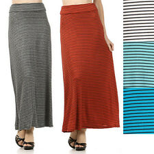 USA Women Striped Banded Fold Waist Maxi Long Full A-Line Flared Draped Skirt