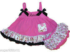 Baby Girl Hot Pink, Black, Rosette Swing Top & Bloomers