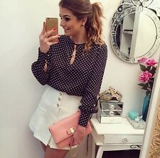 Blouses Summer Shirt Chiffon Long Sleeve Polka Dots Women Casual Round Neck