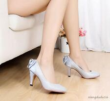 Ladies Sexy Bowknot Sequins Fashion Med-heels Wedding Bride Pumps  Shoes