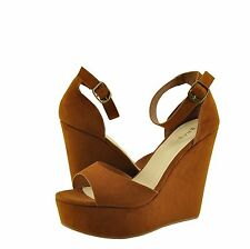 Women's Shoes Bamboo Charade 01M Open Toe Platform Wedge Sandal Chesnut *New*