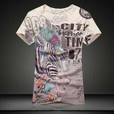 Men's T-shirt Sunglasses Zebra Casual Cotton V-Neck Short sleeve Tee T-Shirt 4Sz