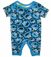 BNWT Boys Baby Sesame Street Cookie Monster Romper Onesie - Sizes 0000 0