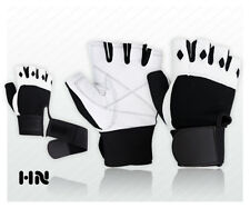 WEIGHT LIFTING PADDED LEATHER GLOVES FITNESS TRAINING BODY BUILDING GYM STRAPS