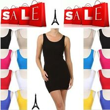 NEW LADIES SEXY TANK TOP BODYCON CLUB PARTY COCKTAIL MINI SEAMLESS COMFY DRESS
