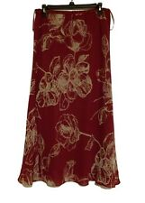 Jacques Vert Women's Floral Burgundy Skirt New
