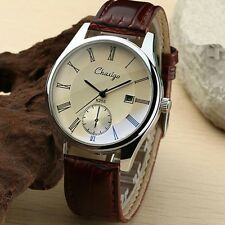 Hot Sale Fashion Men's Casual Stainless Steel Leather Analog Quartz Wristwatch