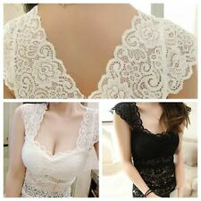 Womens Casual Solid V-Neck Lace Flower Hollow Slim Bottoming Vest Tops Blouse